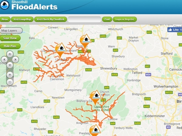 Flood alerts in Shropshire after heavy downpours