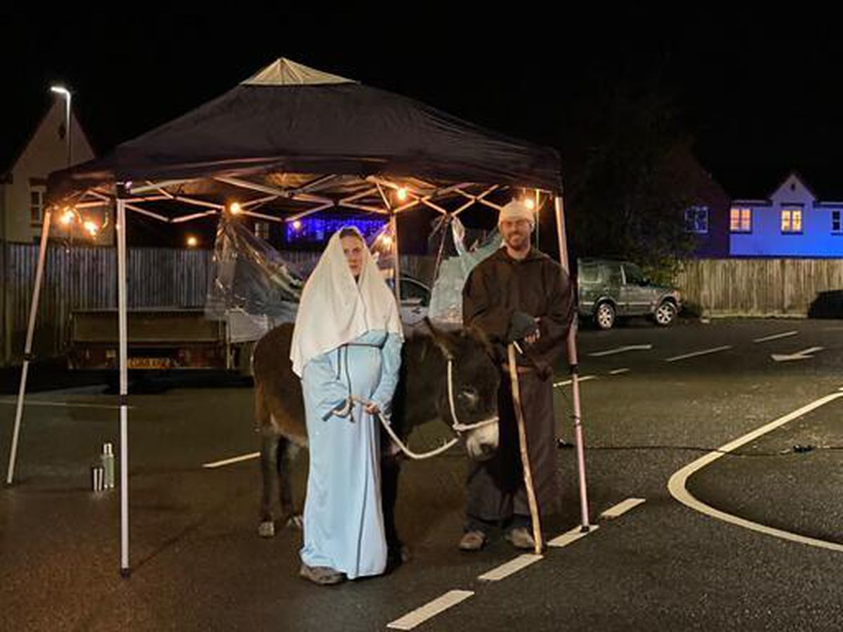 Mary and Jesus, and the donkey, start out on their journey