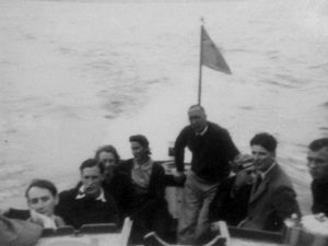PJ Darby at the stern of the Anne. Extreme right is Sammy Lewis, who was killed at Dunkirk. Anne's father Jack Thompson is next to him, and her mother Joan is fourth from left.