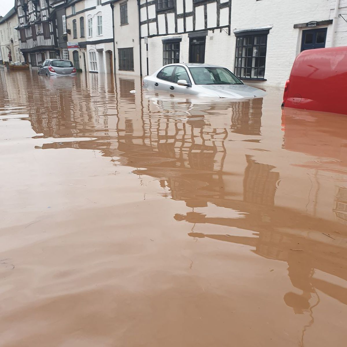 Storm Dennis flooding in Ludlow town centre. Photo: Karokh Mamakura