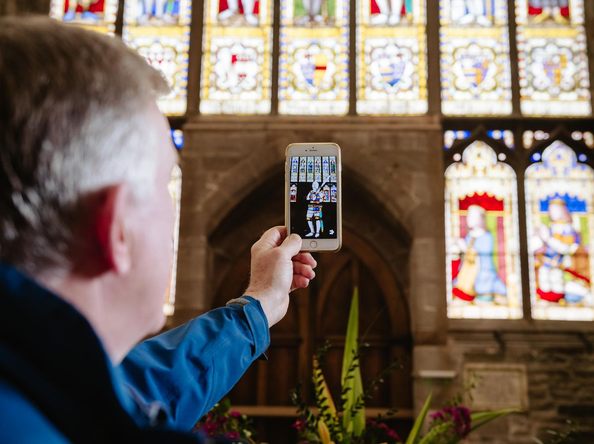SOUTH COPYRIGHT SHROPSHIRE STAR JAMIE RICKETTS 11/10/2021 - Peter Neild from Ludlow has helped create the concept of an AR (Augmented Reality) app for phones for St Lawrence's Church in Ludlow - the first time anywhere in the UK that such an app has been created for churches. Designed by team Areca based in Evensham. People can use the app to walk around the church and bring it to life..