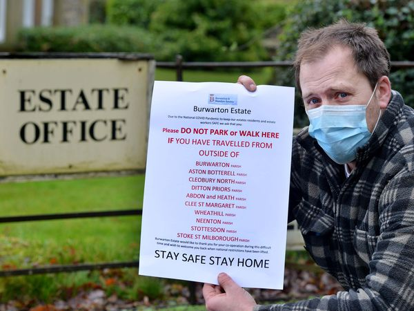 Will Worthington, forestry foreman, with one of the signs that have been put up around Brown Clee and the Burwarton Estate