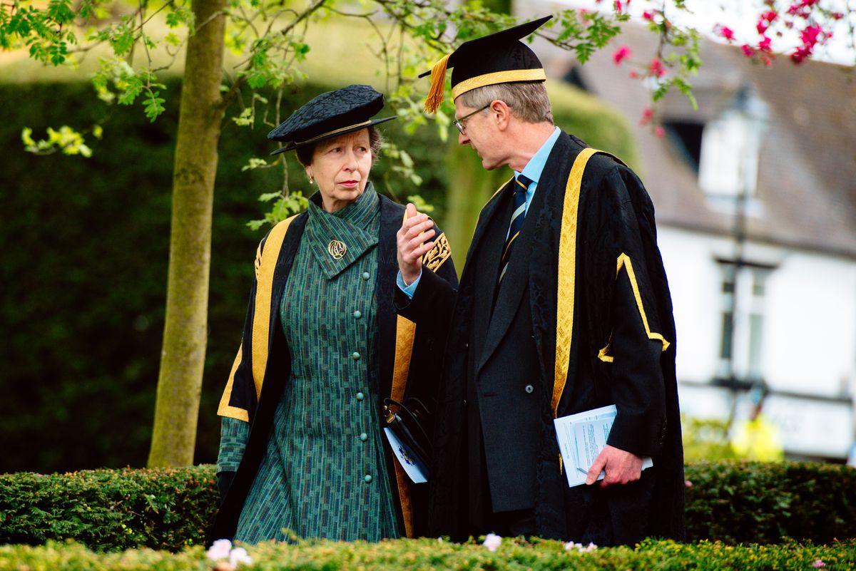 Princess Anne leaving St Nicolas Church in Newport,
