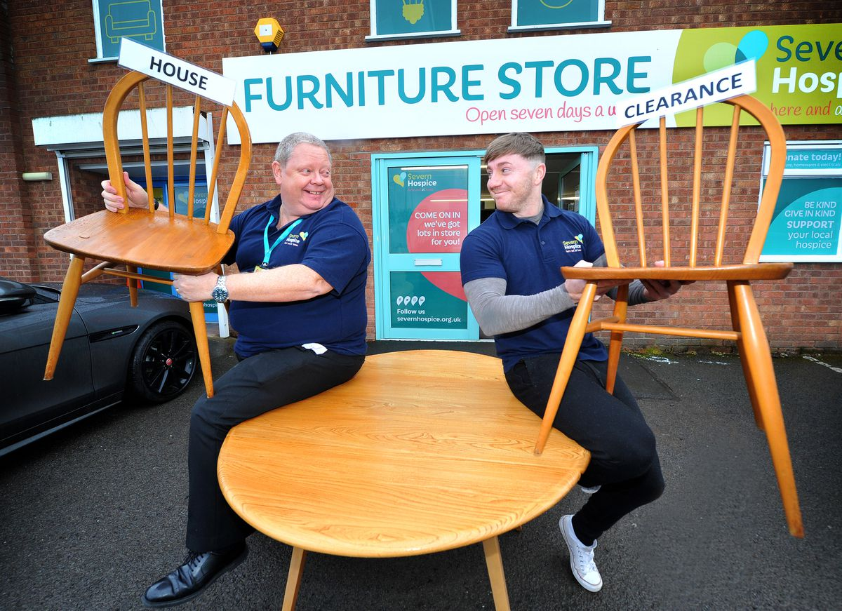 Severn Hospice is launching a new house clearance scheme. Pictured are staff members Andy Perkins and Matthew Haigh