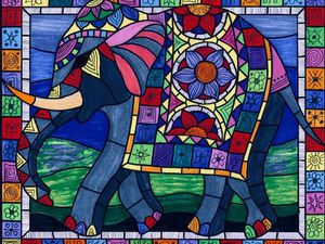 An artist's impression of what the elephant mosaic will look like