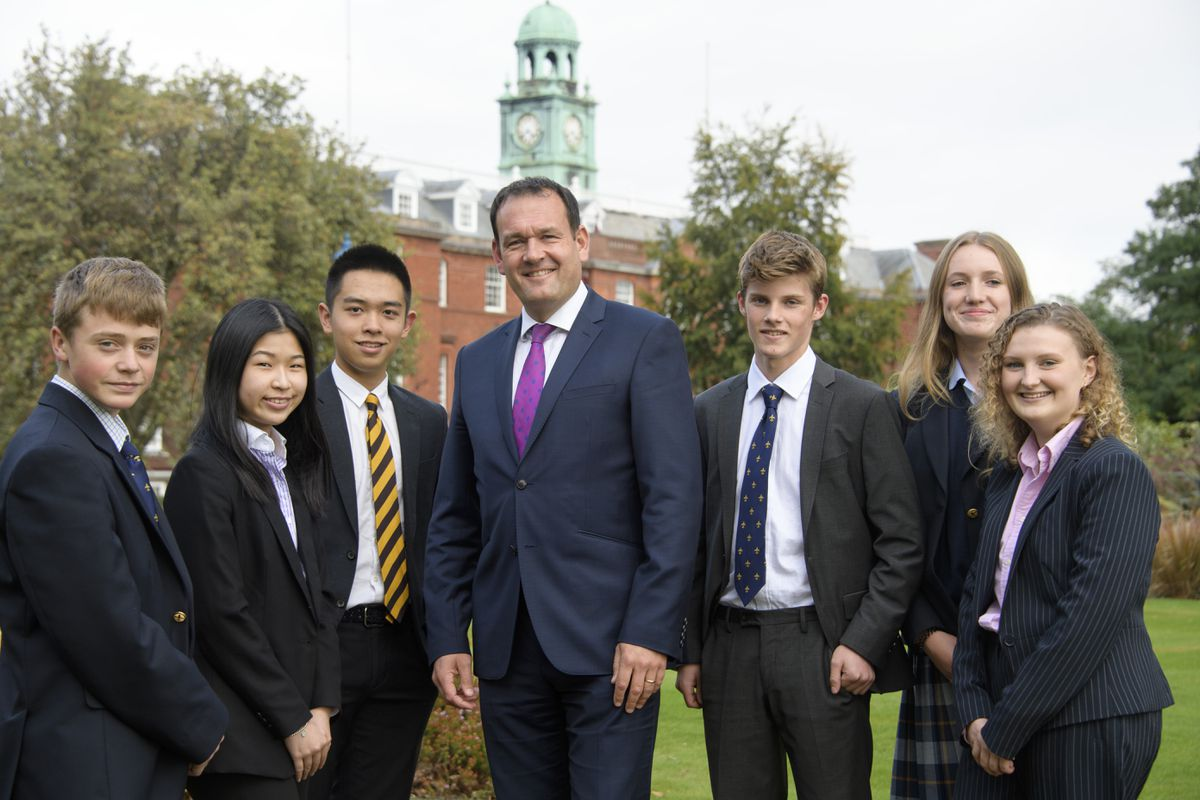 Headmaster Leo Winkley with pupils at Shrewsbury School, which has been shortlisted for two awards