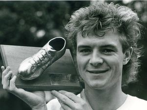 Danny Crainie with his man-of-the-match award from Wolves' victory at Albion in 1983.