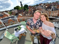 Rooftop romance: Proposal on top of Shrewsbury Market Hall - with video