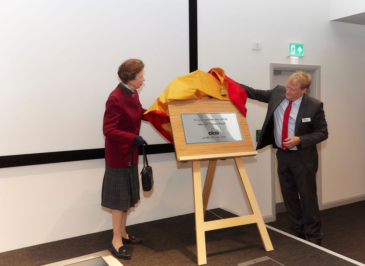 The Princess Royal at Aico in Oswestry unveils a plaque to mark her visit