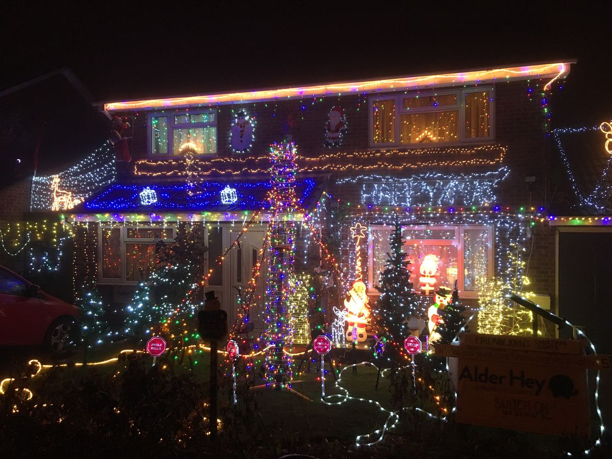 """Christmas lights for charity at a house in Shrewsbury December 2020. See attached submitted information. FIREMAN JOHN'S CHRISTMAS LIGHTS  NOW ON!!..Raising funds for the Alder Hey Children's Charity...Shrewsbury residents are once again invited to view a fabulous display of Christmas lights in Primrose Drive and to support Alder Hey Children's Charity.  Fireman John's Christmas lights have been delighting family, friends and neighbours for more than 30 years raising funds for Alder Hey for the past 5 years. Those who come to see the lights are invited to make a voluntary donation to the charity for Alder Hey Children's Hospital. The Christmas Lights switch-on has taken place and the lights can be seen every night until 6th January 2021 from 5.00pm until late - at Satnav reference SY3 7TP .. ..Fireman John said: """"I am supporting Alder Hey hospital again in recognition of their fantastic work with many Shropshire families and those who live further afield. Last year the public's generous donations meant that our final total was £1200 and this year we are hoping to break this milestone figure."""".. ..Donations can be made in person at the lights, or online at www.justgiving.com/fundraising/philip-cotton5 or just access the Just Giving website www.justgiving.com and use the Search Facility for 'Fireman Johns Christmas Lights (registered under the name of Philip Cotton.) Please don't forget to tick the Gift Aid box, which adds 25p to every £1 donated. Thank you""""... ..Editors contact: 01743 364982 John & Annette Evans.."""