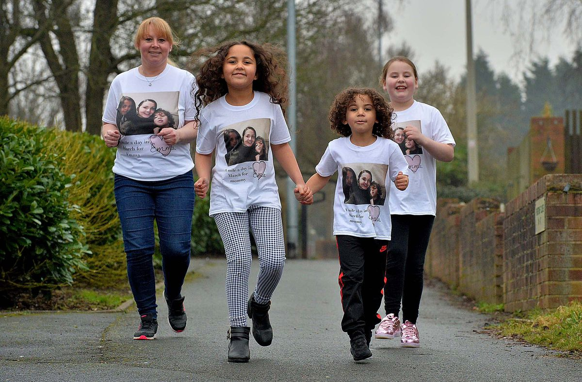 AJ and Aaliyah Scotto on their walk with Charlene Robinson and her daughter McCartney Robinson behind them