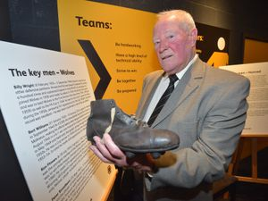 SPORT STEVE LEATH COPYRIGHT EXPRESS&STAR 06/12/2014  Pic at the Wolves Museum where they have a section dedicated to the Wolves V Honved game. Ron Flowers with a boot of the time..