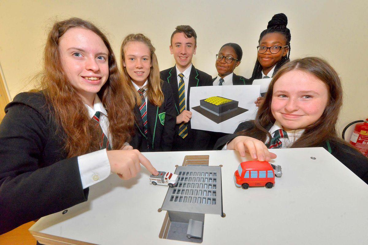 Telford Langley School, with a speed bollard invention. From left, Rachel Pearson, 14, Jess Cox, 13, Jacob Rushton, 14, Marlem Fotso, 15, Tracy Bamfo, 14,  Abbi Hodgkinson, 14