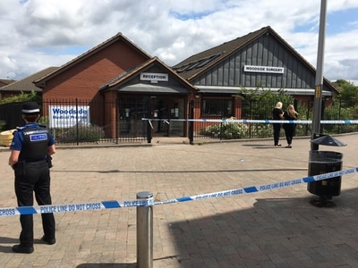 Police cordon outside Telford GP surgery after woman suffers head injuries