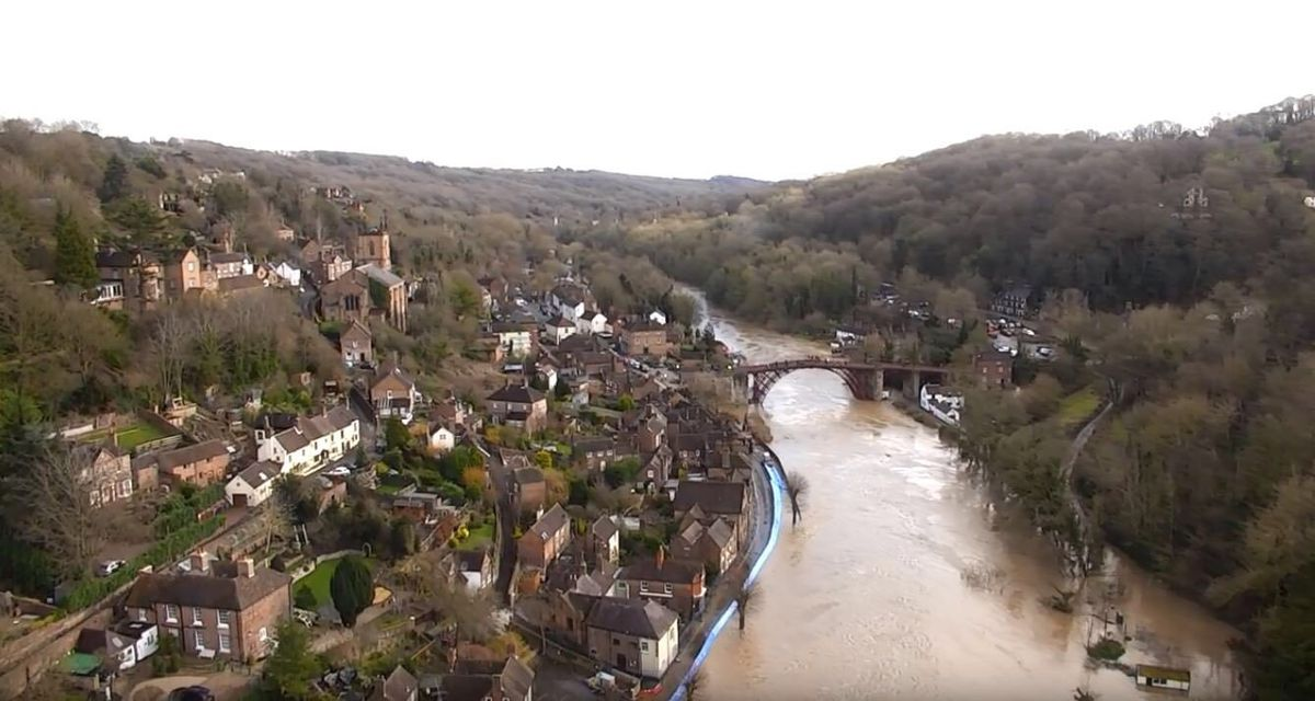 Flooding in Ironbridge> Photo: @DaveThroupEA