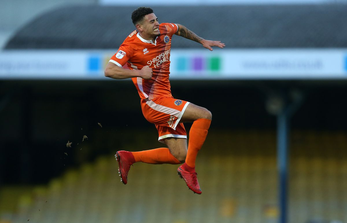 Ben Godfrey of Shrewsbury Town celebrates after scoring a goal to make it 0-2. (AMA)