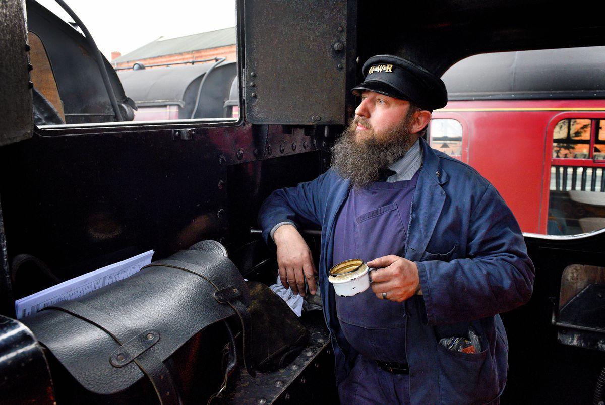 Steam Gala at Severn Valley Railway's Kidderminster Station..Tim Strevens takes a break on the 1501 pannier tank