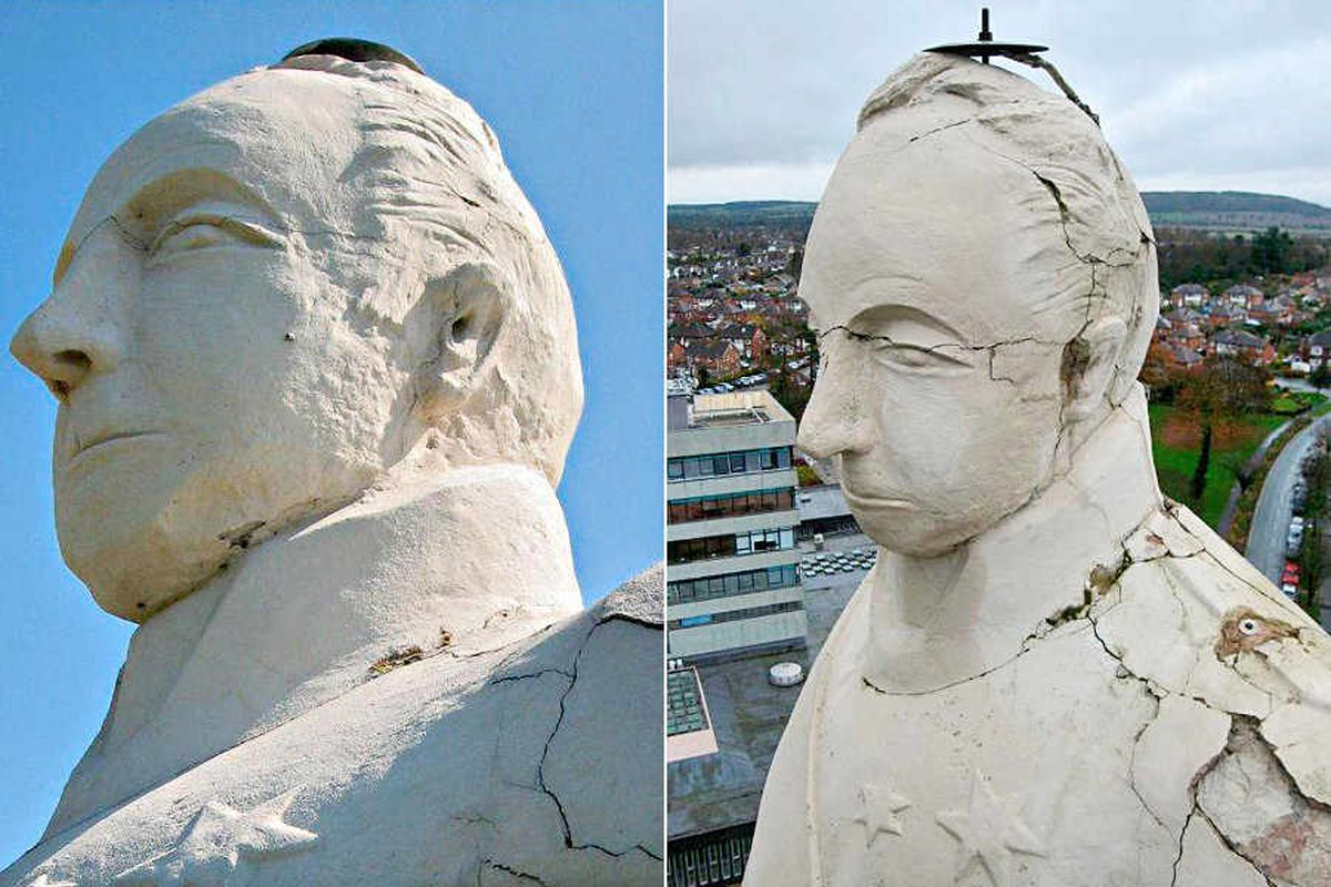 Left: 2010 – The Lord Hill Column in Shrewsbury is relatively intact. Right: 2012 – Deep cracks have developed following the freezing winters