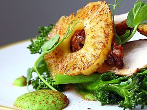 Tender breast of chicken covered in jerk spices with hot/sweet chilli pineapple