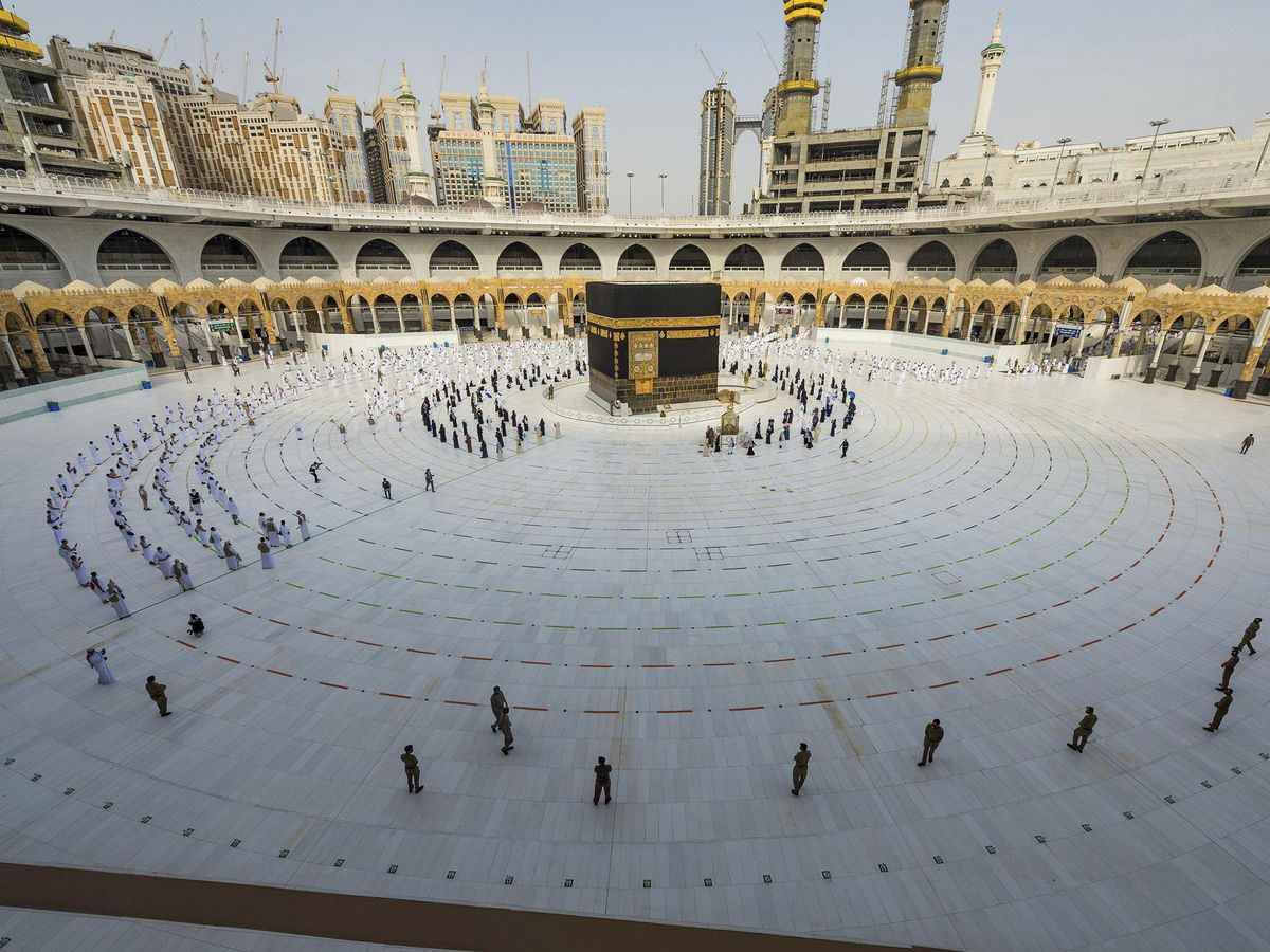 Pilgrims walk around the Kabba at the Grand Mosque in the Muslim holy city of Mecca, Saudi Arabia