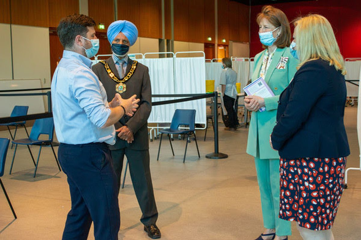 Lord-Lieutenant of Shropshire, Anna Turner and the Mayor of Telford and Wrekin, Councillor Amrik Jhawar, visit Telford International Centre, one of the county's vaccination centres