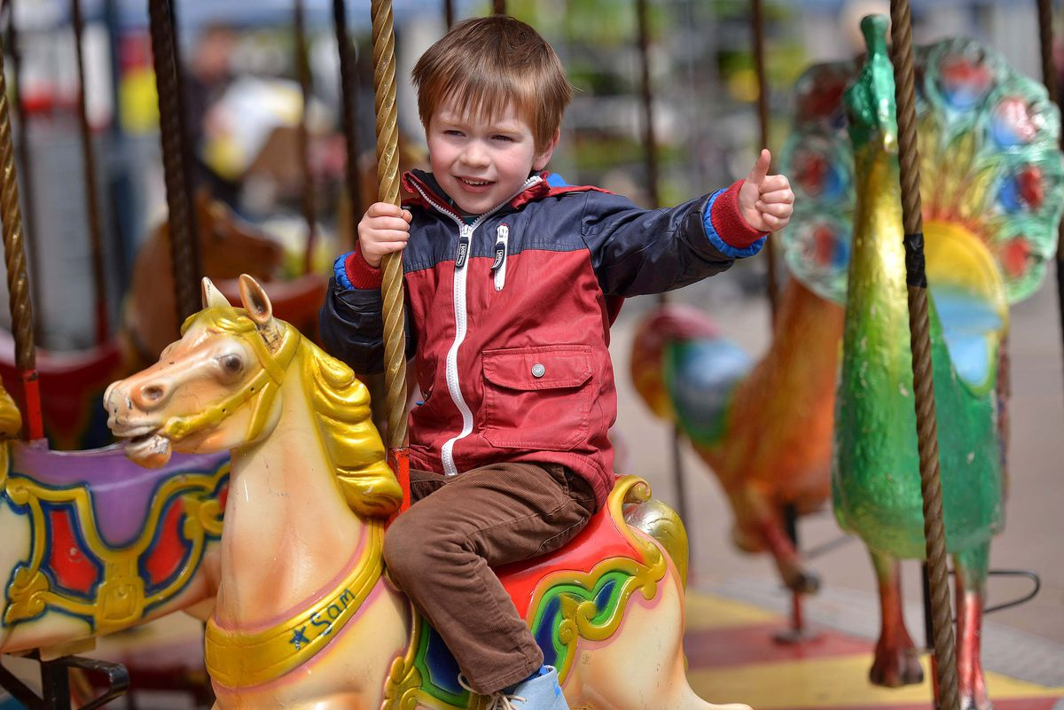 George Griffiths, 4, from Ludlow enjoys the May Fair in 2015