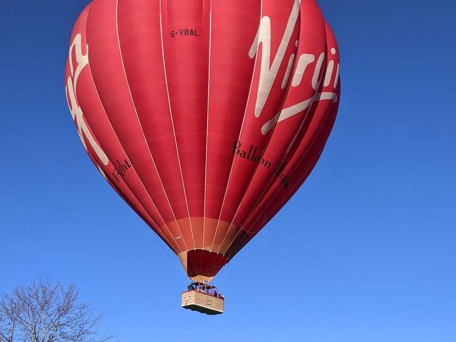 The Virgin balloon gracefully comes down at Hadnall