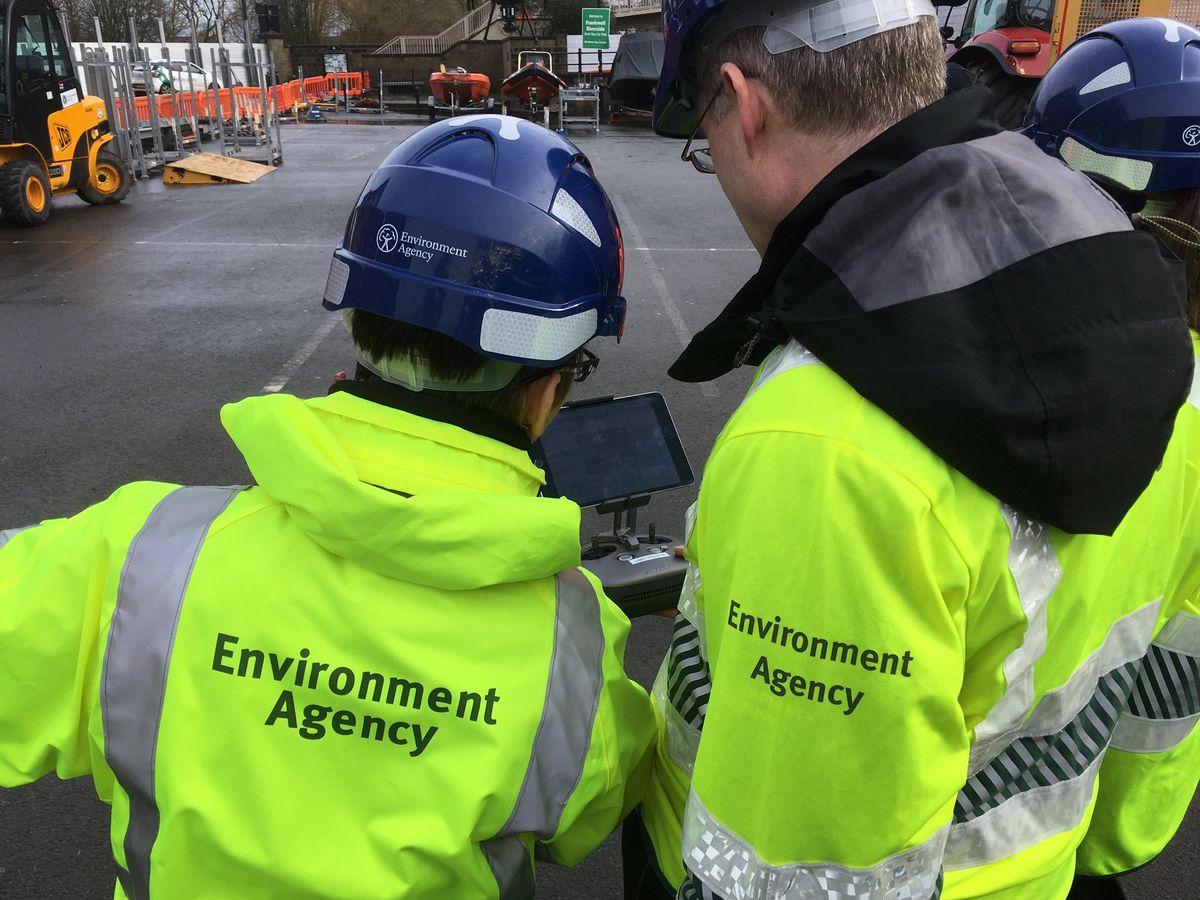 The Environment Agency deploys a drone over the Shrewsbury floods. Photo: @ChrisBaingerEA