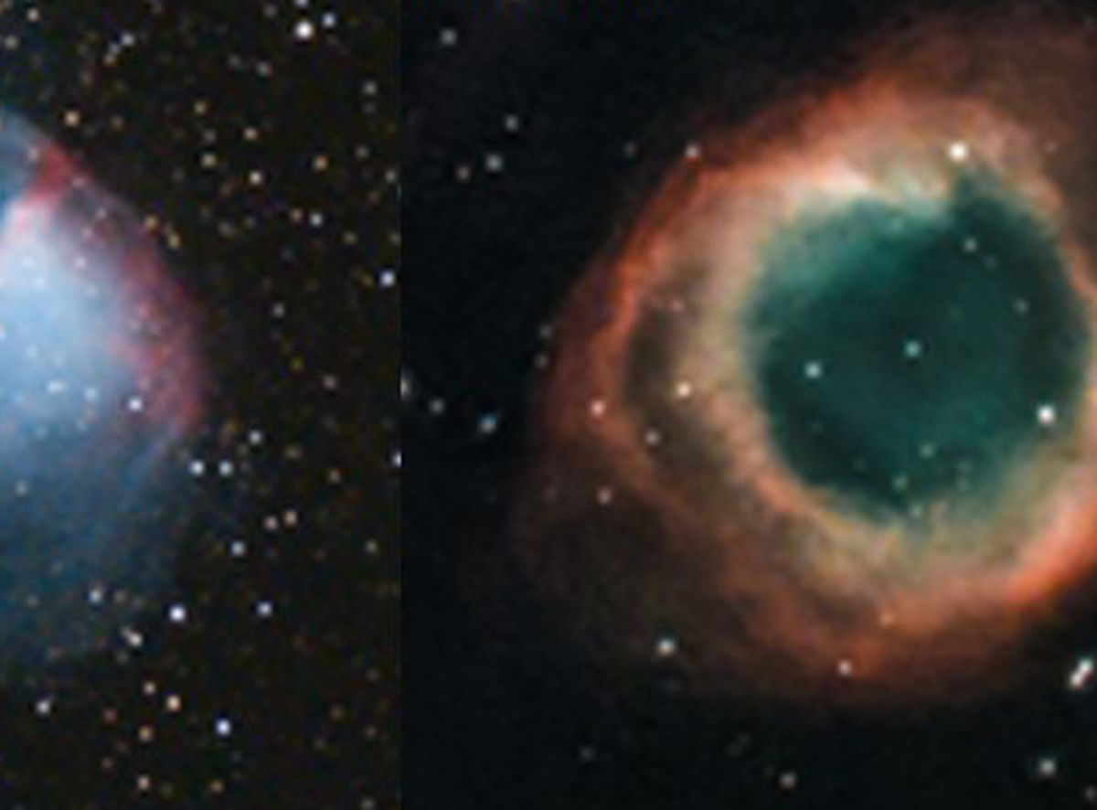 The Dumbbell nebula, left, and the Helix nebula, right, as pictured by Shropshire astronomer Andy Gannon..