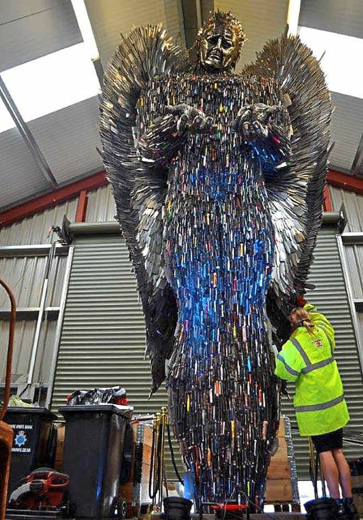 The Shropshire Knife Angel is made from about 100,000 knives