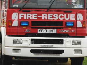 Hedge and fences on fire in Shrewsbury