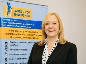 SHREWS COPYRIGHT SHROPSHIRE STAR JAMIE RICKETTS 13/10/2020 - Ladder for Shropshie campaign. In Picture: SBC Training - Amanda Carpenter - Heading up the Ladder for Shropshire campaign..