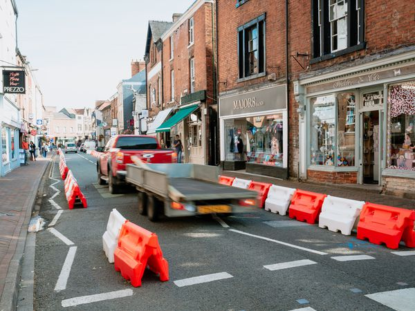 Church Street, Oswestry, which has been made one-way during the pandemic