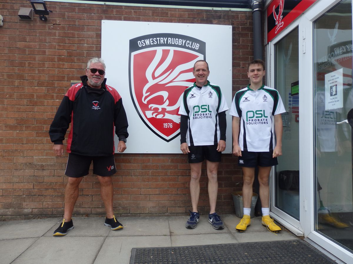 Julian and Theo called in at Oswestry Rugby Club on their marathon cycle