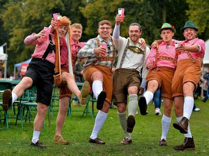From left, revellers 'Ogey', Josh Tunmore, Brad Randall, Callum Roberts, Dave Rees and Jack Mitchell from Shrewsbury