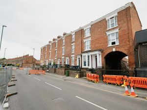 Work started on the weekend amid concerns that 110 St Michael's Street, Shrewsbury, could collapse