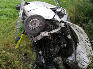 The aftermath of the crash between Llanfechain and Llansantffraid. Photo: Llanfyllin Fire Station