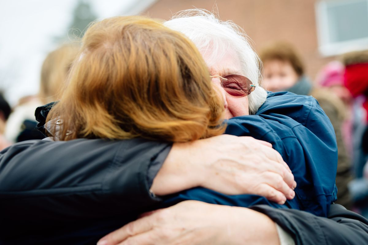 Hugging mum after three months apart