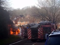Bus destroyed by fire on Telford road - with video and pictures
