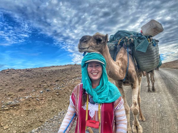 Alice and one of the camels