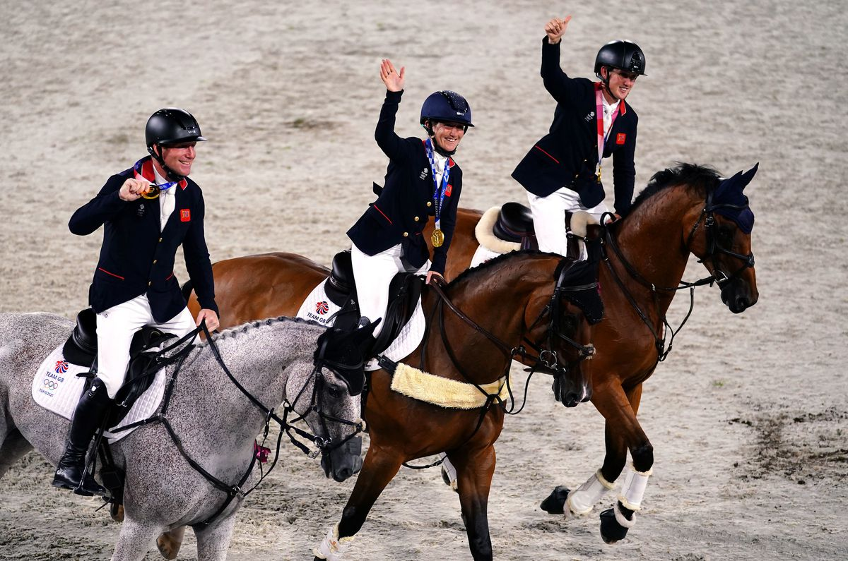 The victorious British eventing team