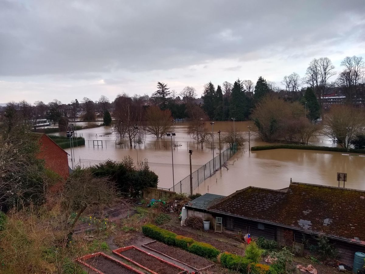Flooding on tennis courts and bowling club below Town Walls in Shrewsbury yesterday afternoon