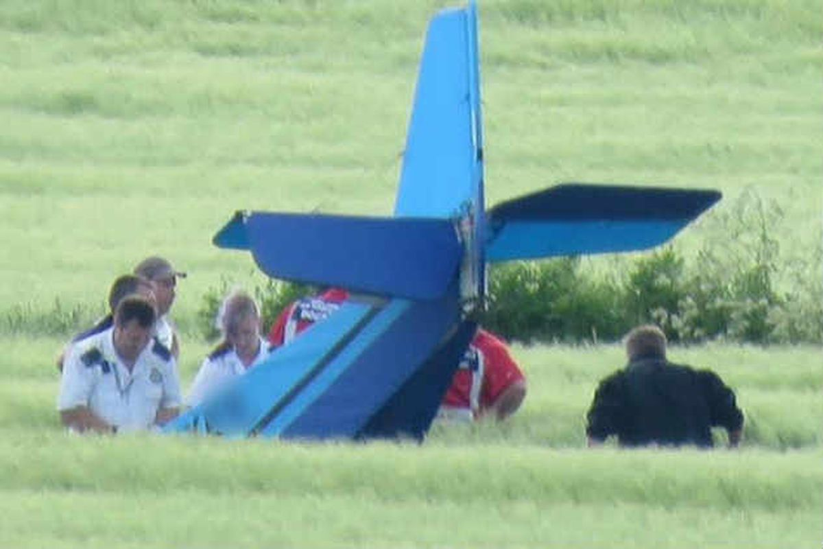 The light aircraft in which two people died. Photo: Michelle Marshall.
