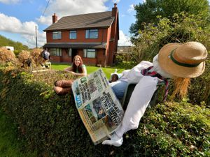 Anthea Reeves with her Shropshire Star inspired scarecrow