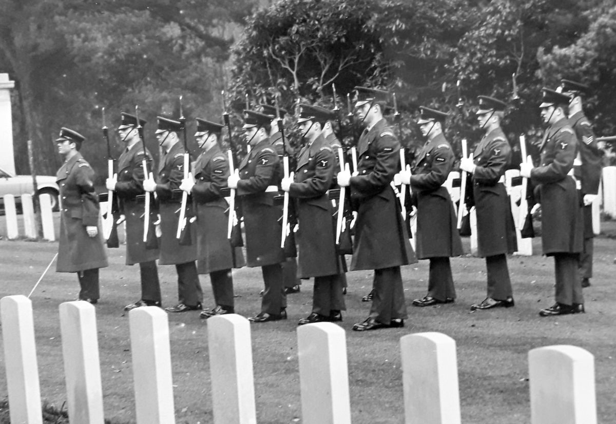 The honour guard which fired a volley in salute at Carr's 1979 funeral.
