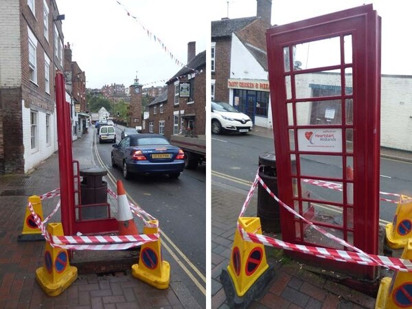 Bridgnorth phone box smashed to pieces by tractor