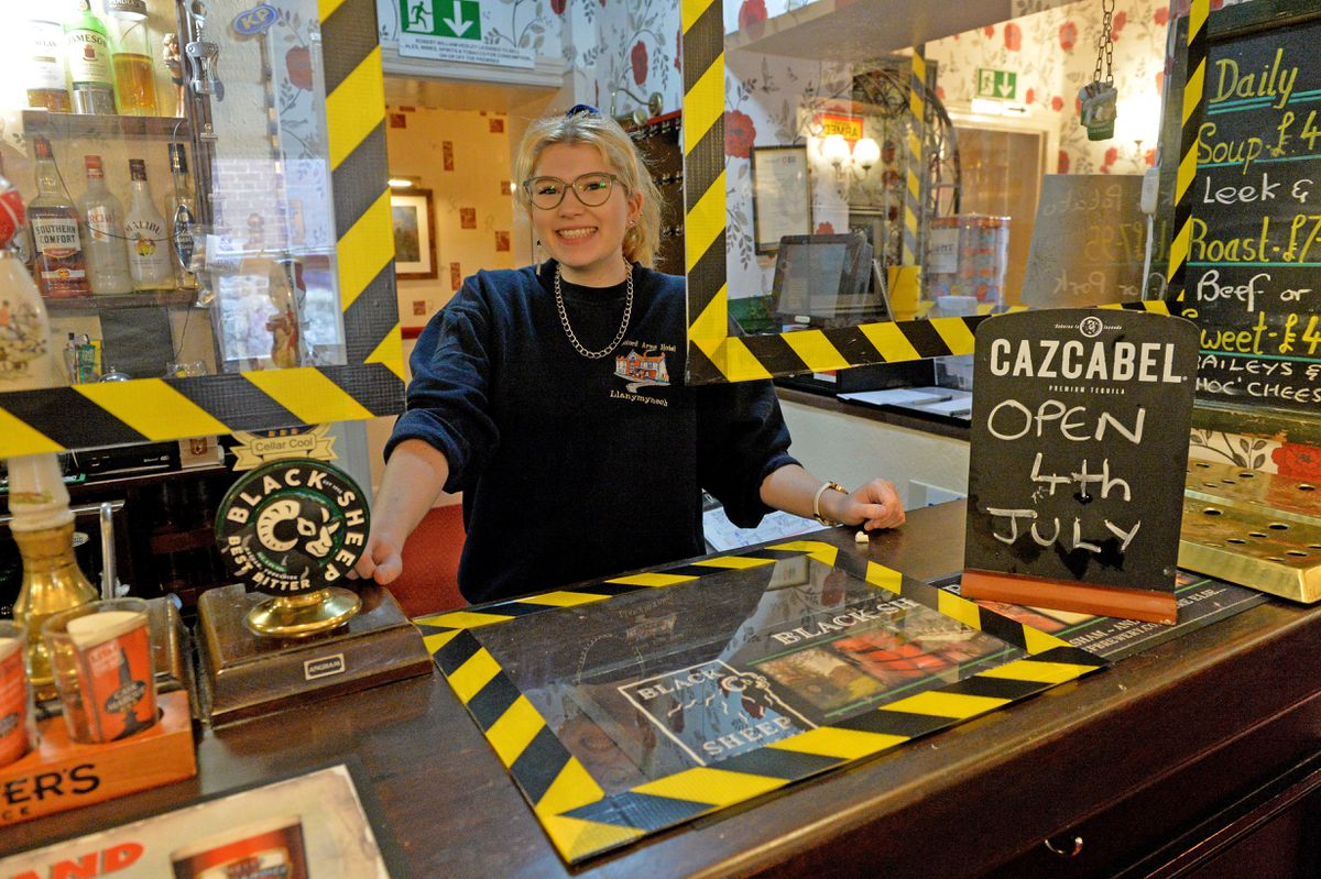 Open: Barmaid Kate Bond at the Bradford Arms Hotel