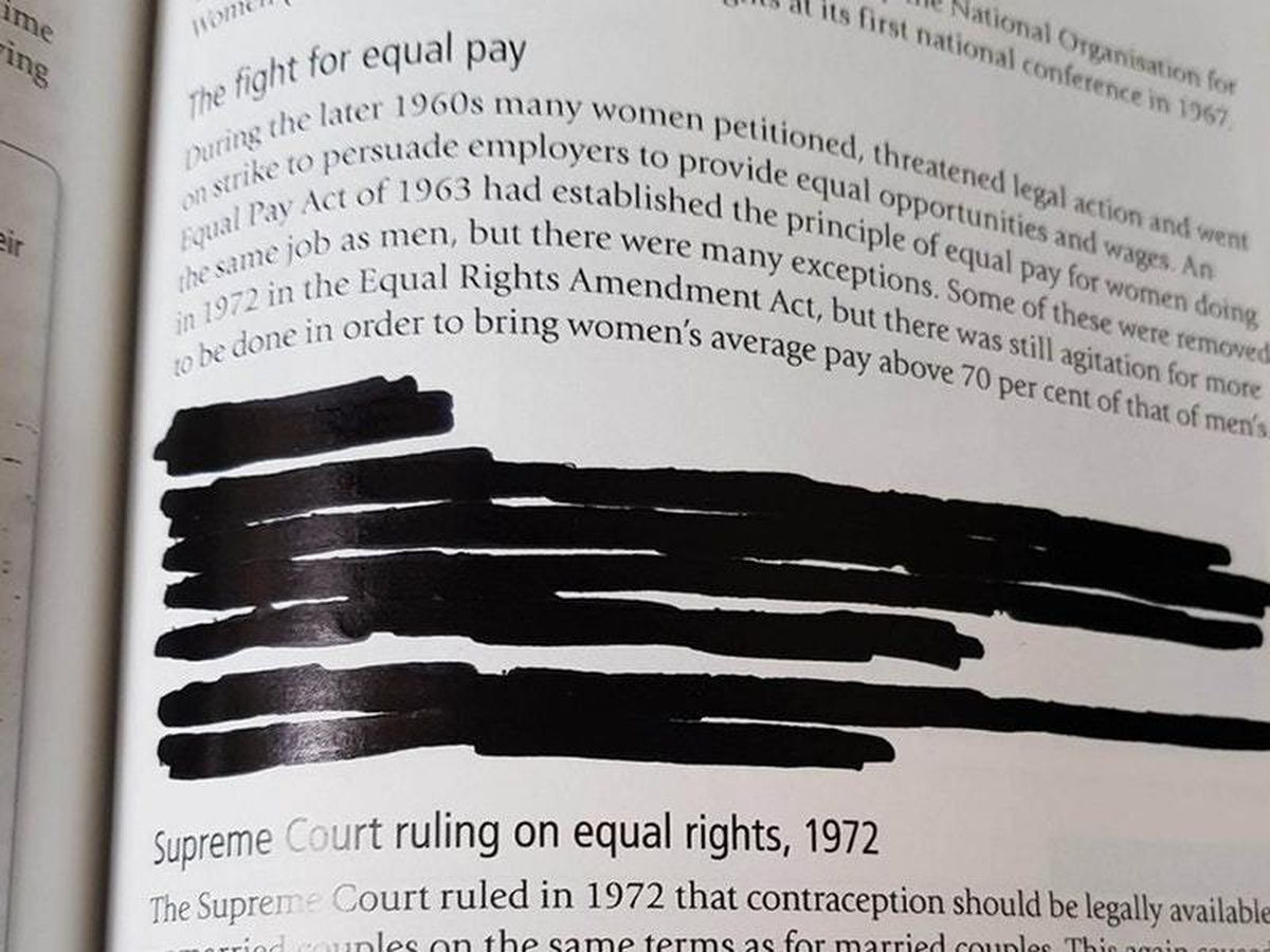 A section on Roe v Wade, the US Supreme Court decision that made abortion a legal right is covered completely in a textbook (Humanists UK/PA)