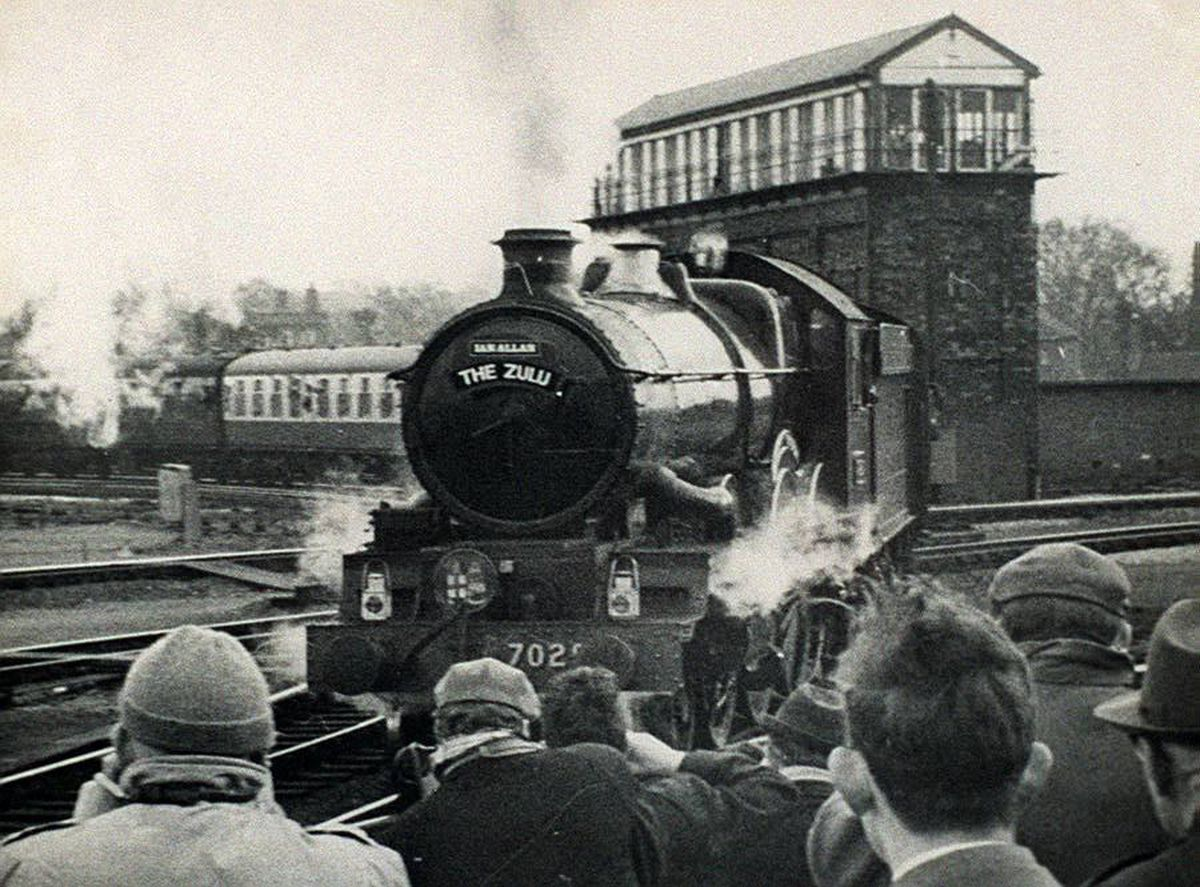The Shrewsbury signal box looms over the last day of steam in March 1967