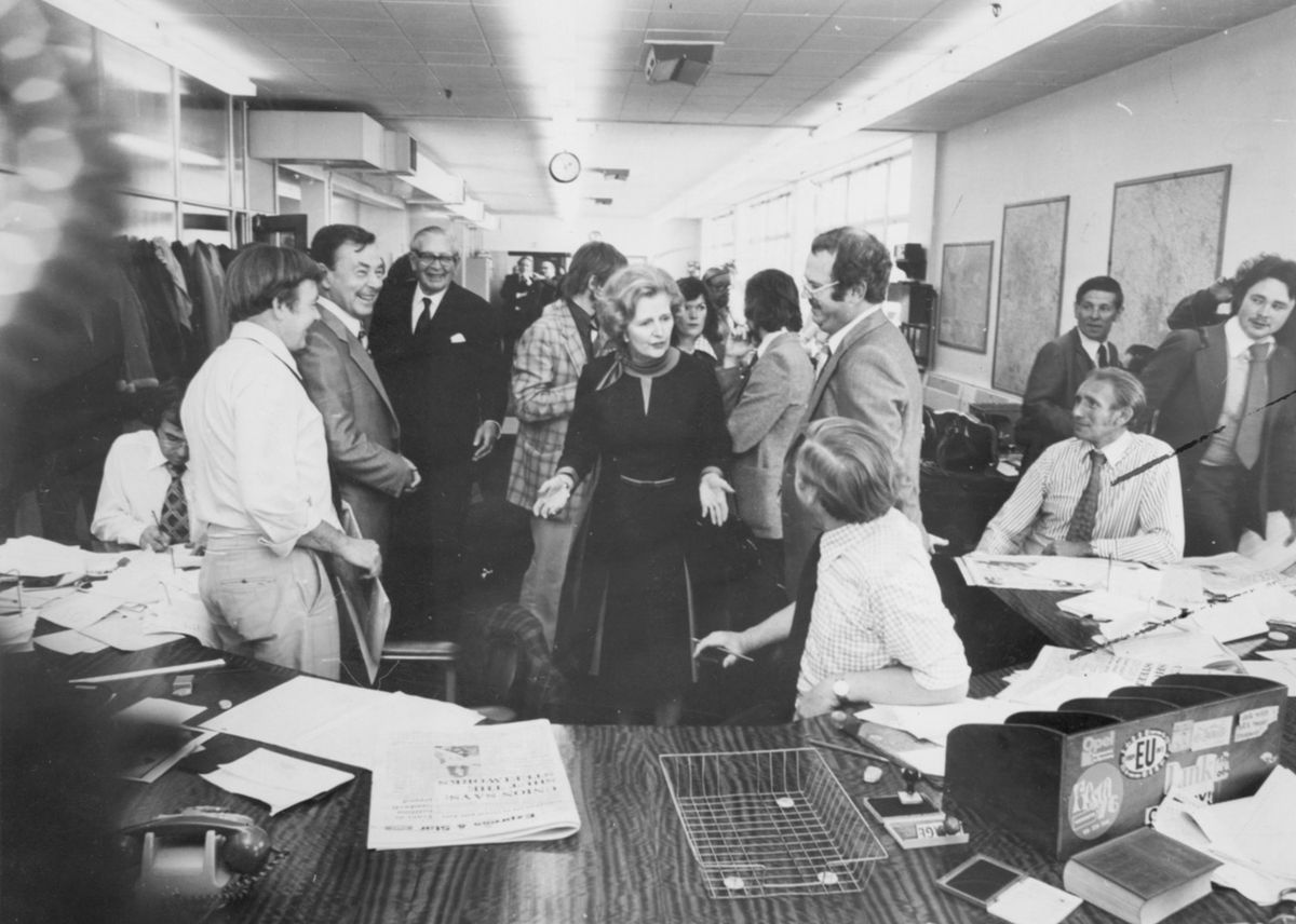 Tory opposition leader Margaret Thatcher chats to journalists at the Express & Star's head office in Queen Street, Wolverhampton, in September 1978. She was just months away from becoming Prime Minister.